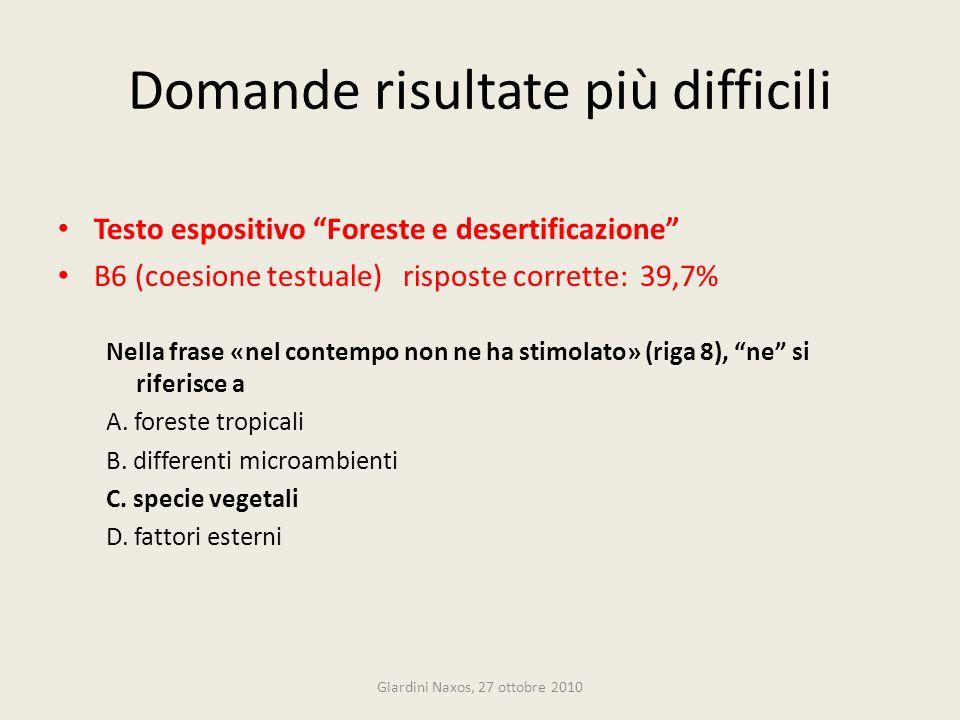 Domande risultate più difficili Testo espositivo Foreste e desertificazione B6 (coesione testuale) risposte corrette: 39,7% Nella frase «nel contempo