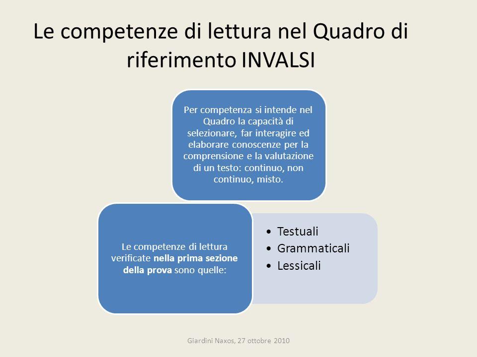 Le competenze di lettura nel Quadro di riferimento INVALSI Per competenza si intende nel Quadro la capacità di selezionare, far interagire ed elaborar