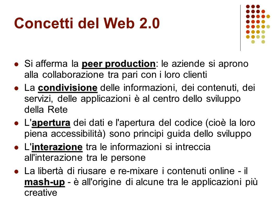 Concetti del Web 2.0 collaborativa La scrittura si fa collaborativa e partecipata (blog, wiki, piattaforme collettive) folksonomy L informazione viene categorizzata liberamente e collettivamente, con le folksonomy, nuvole di tag- parole chiave attribuite a pagine web, immagini, libri, documenti, articoli etc.