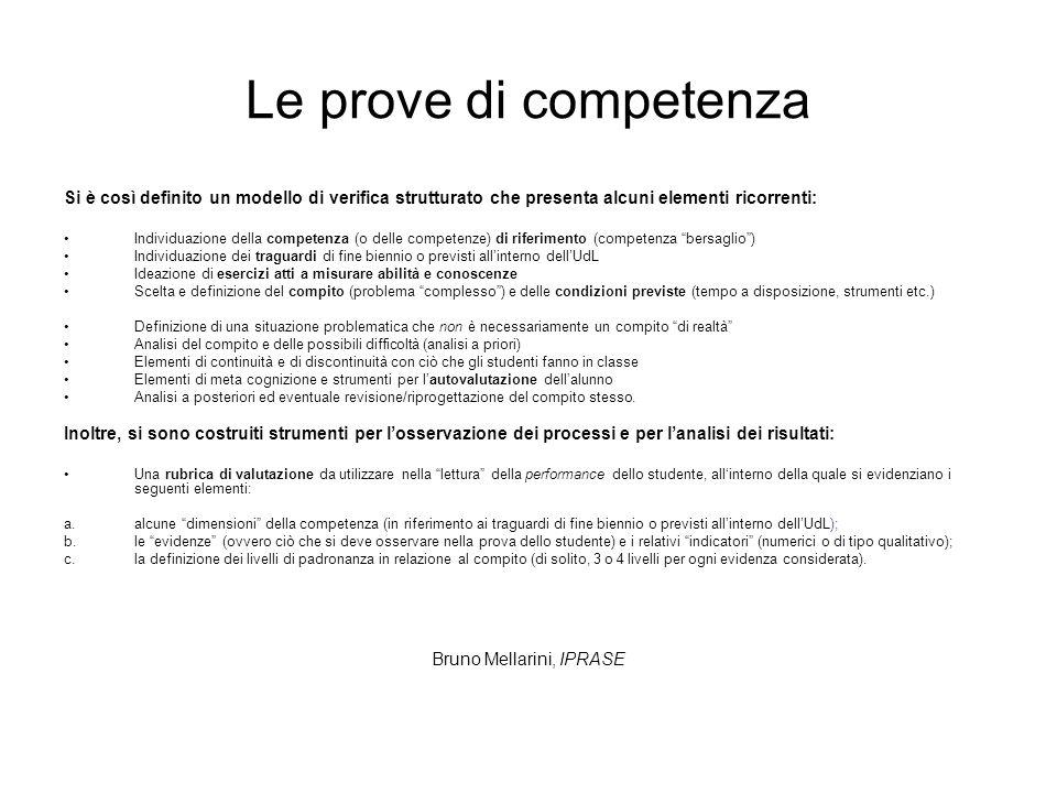 Le prove di competenza Si è così definito un modello di verifica strutturato che presenta alcuni elementi ricorrenti: Individuazione della competenza