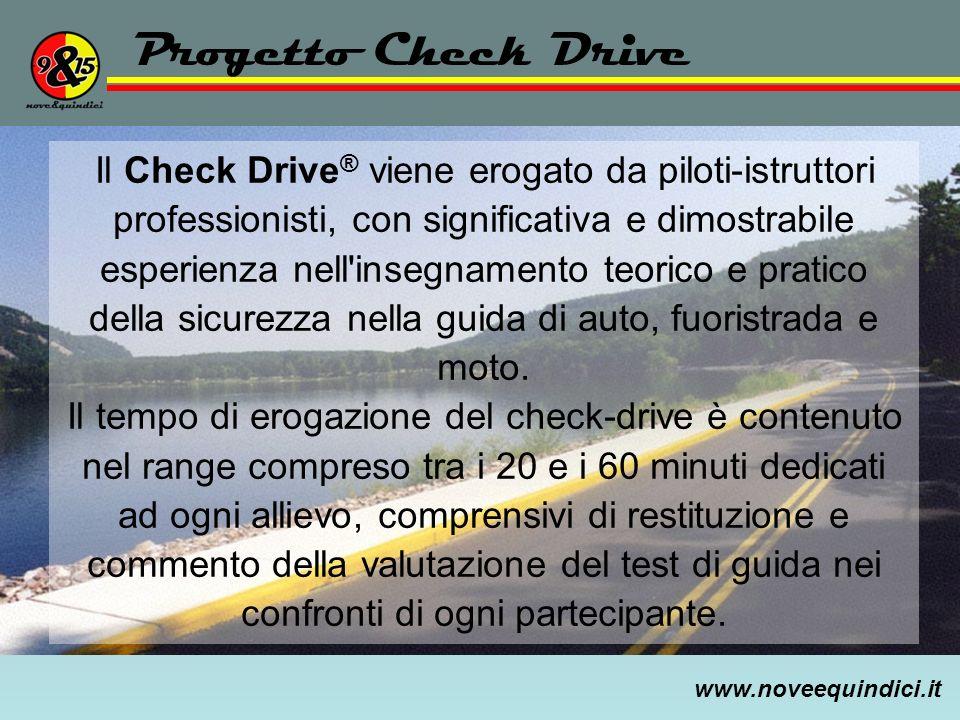 www.noveequindici.it Progetto Check Drive Il Check Drive ® viene erogato da piloti-istruttori professionisti, con significativa e dimostrabile esperie