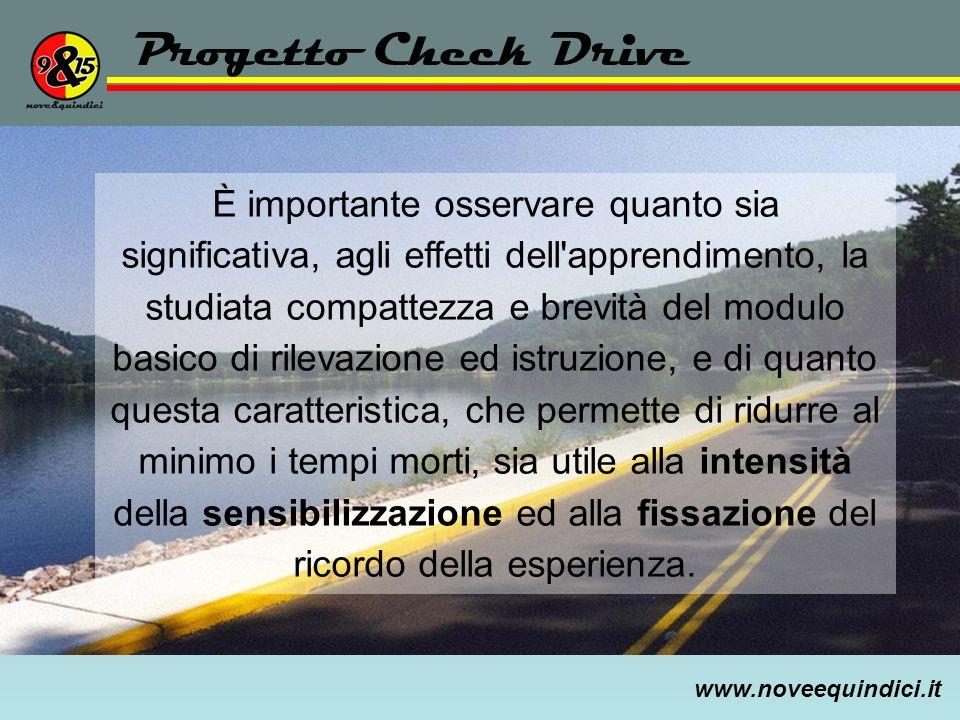www.noveequindici.it Progetto Check Drive È importante osservare quanto sia significativa, agli effetti dell'apprendimento, la studiata compattezza e