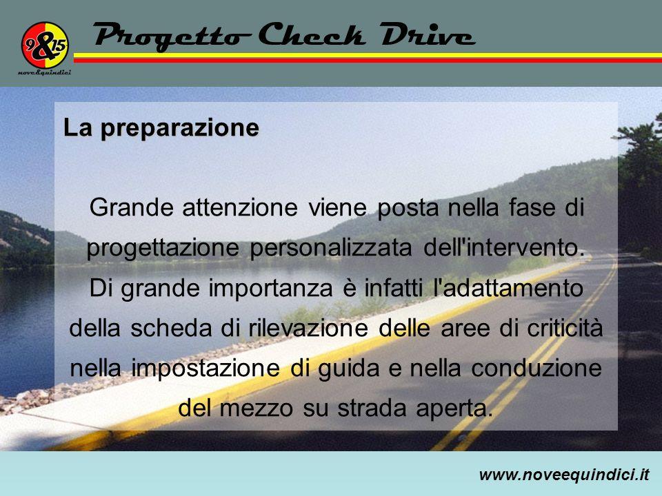 www.noveequindici.it Progetto Check Drive La preparazione Grande attenzione viene posta nella fase di progettazione personalizzata dell'intervento. Di