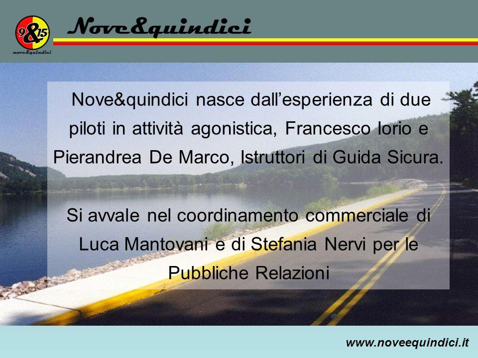 www.noveequindici.it Nove&quindici Nove&quindici nasce dallesperienza di due piloti in attività agonistica, Francesco Iorio e Pierandrea De Marco, Ist