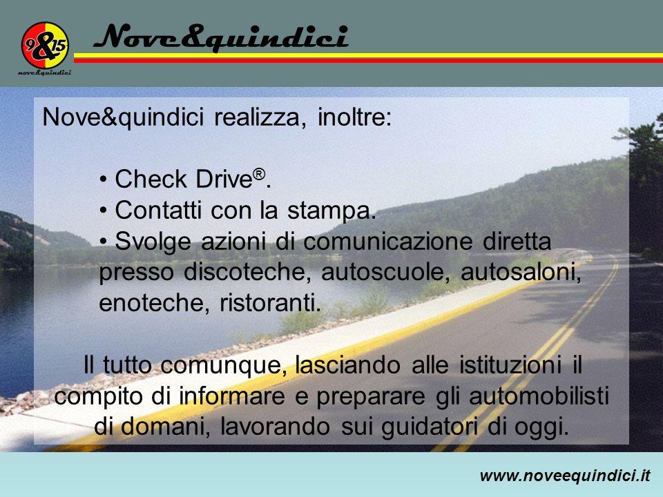 www.noveequindici.it Nove&quindici Nove&quindici realizza, inoltre: Check Drive ®. Contatti con la stampa. Svolge azioni di comunicazione diretta pres
