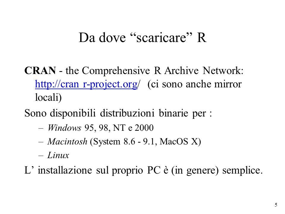 5 Da dove scaricare R CRAN - the Comprehensive R Archive Network: http://cran r-project.org/ (ci sono anche mirror locali) http://cran r-project.org S