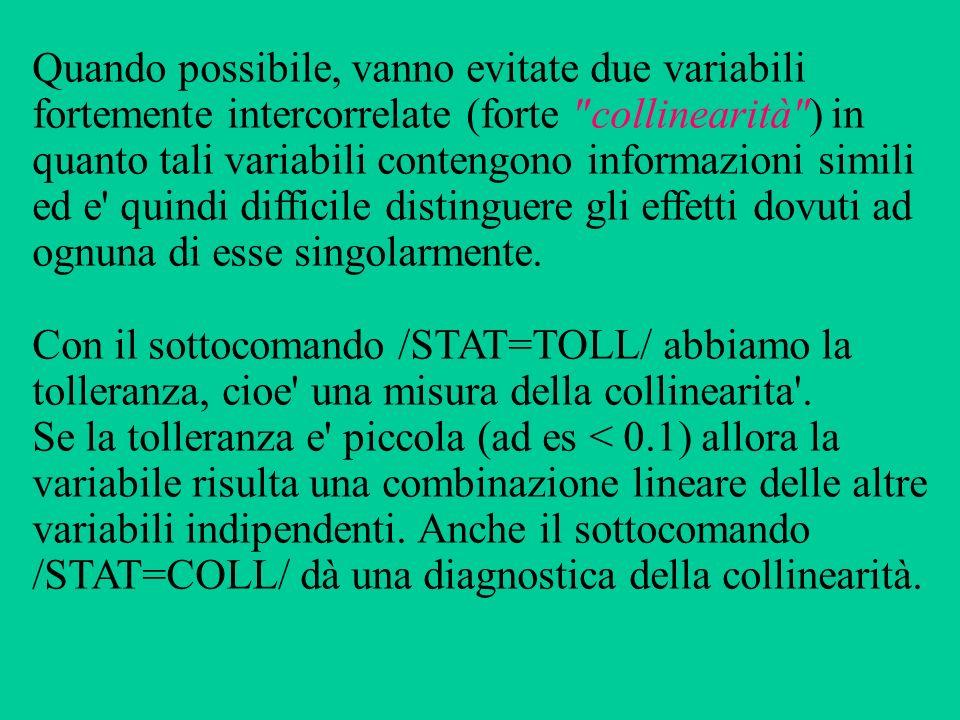 Quando possibile, vanno evitate due variabili fortemente intercorrelate (forte