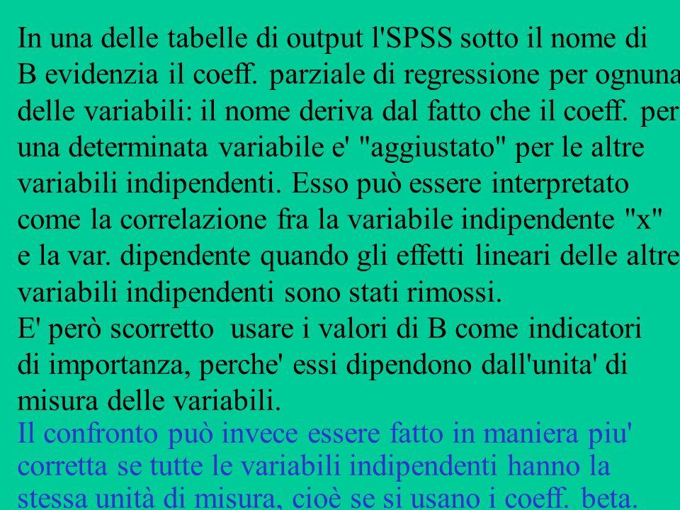 In una delle tabelle di output l'SPSS sotto il nome di B evidenzia il coeff. parziale di regressione per ognuna delle variabili: il nome deriva dal fa