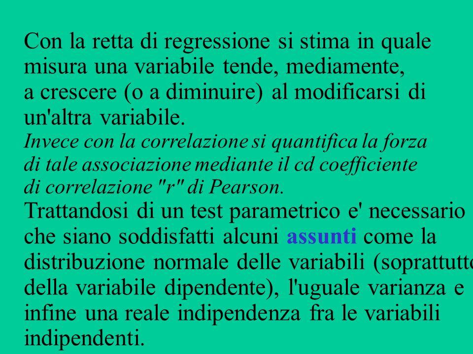 Con la retta di regressione si stima in quale misura una variabile tende, mediamente, a crescere (o a diminuire) al modificarsi di un'altra variabile.