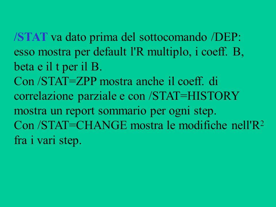 /STAT va dato prima del sottocomando /DEP: esso mostra per default l'R multiplo, i coeff. B, beta e il t per il B. Con /STAT=ZPP mostra anche il coeff