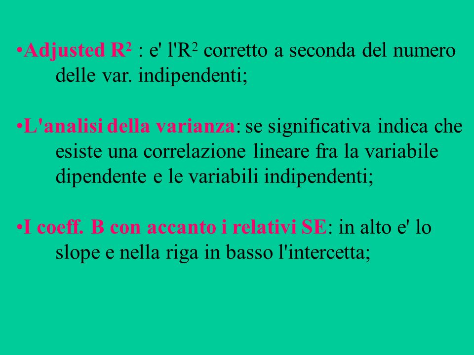 Il coefficiente beta, cioe il coeff.