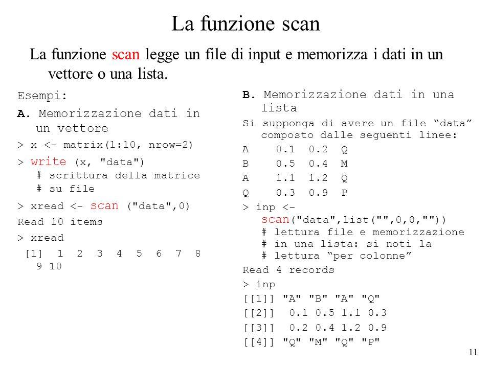 11 La funzione scan Esempi: A.