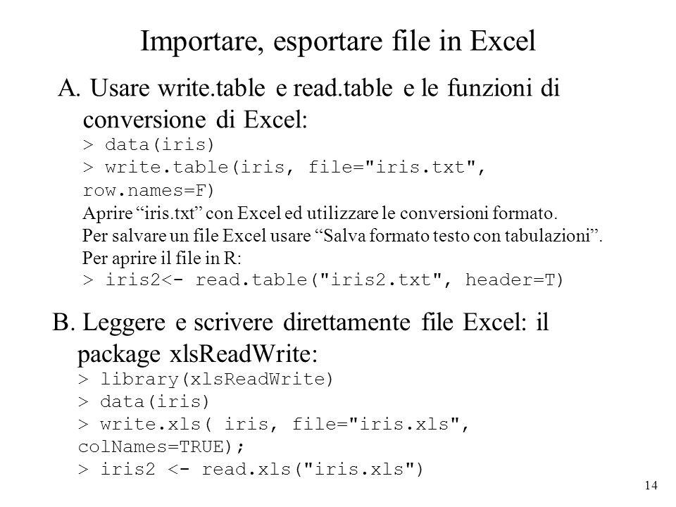 14 Importare, esportare file in Excel B.