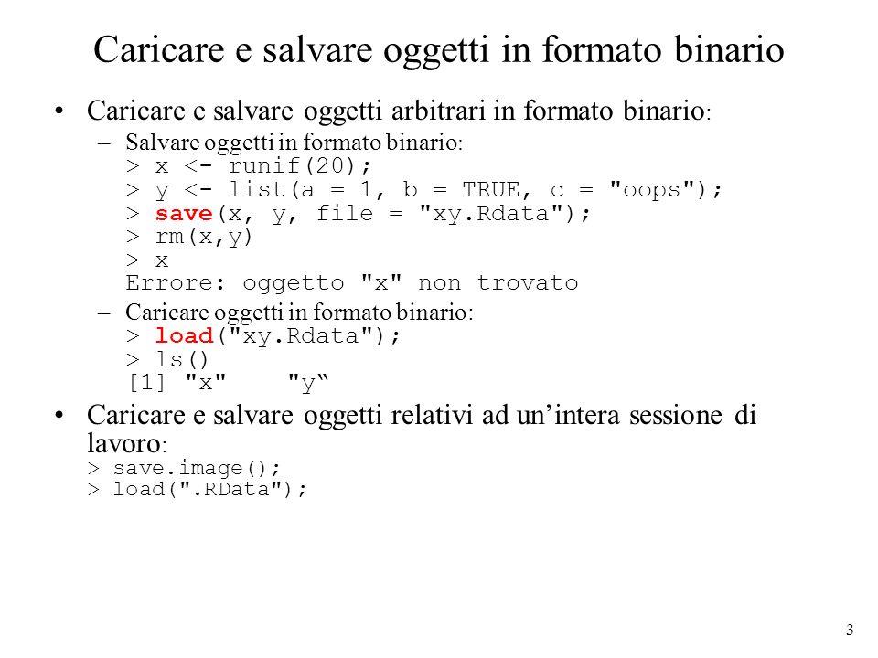 3 Caricare e salvare oggetti in formato binario Caricare e salvare oggetti arbitrari in formato binario : –Salvare oggetti in formato binario : > x y save(x, y, file = xy.Rdata ); > rm(x,y) > x Errore: oggetto x non trovato –Caricare oggetti in formato binario: > load( xy.Rdata ); > ls() [1] x y Caricare e salvare oggetti relativi ad unintera sessione di lavoro : > save.image(); > load( .RData );
