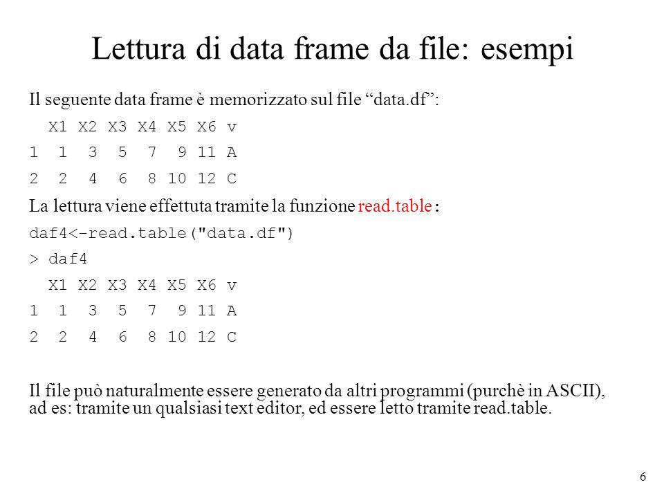 6 Lettura di data frame da file: esempi Il seguente data frame è memorizzato sul file data.df: X1 X2 X3 X4 X5 X6 v 1 1 3 5 7 9 11 A 2 2 4 6 8 10 12 C La lettura viene effettuta tramite la funzione read.table : daf4<-read.table( data.df ) > daf4 X1 X2 X3 X4 X5 X6 v 1 1 3 5 7 9 11 A 2 2 4 6 8 10 12 C Il file può naturalmente essere generato da altri programmi (purchè in ASCII), ad es: tramite un qualsiasi text editor, ed essere letto tramite read.table.
