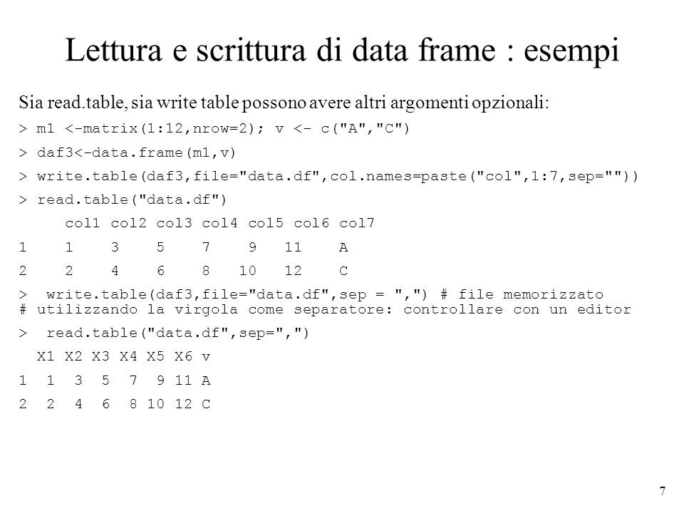 7 Lettura e scrittura di data frame : esempi Sia read.table, sia write table possono avere altri argomenti opzionali: > m1 <-matrix(1:12,nrow=2); v <- c( A , C ) > daf3<-data.frame(m1,v) > write.table(daf3,file= data.df ,col.names=paste( col ,1:7,sep= )) > read.table( data.df ) col1 col2 col3 col4 col5 col6 col7 1 1 3 5 7 9 11 A 2 2 4 6 8 10 12 C > write.table(daf3,file= data.df ,sep = , ) # file memorizzato # utilizzando la virgola come separatore: controllare con un editor > read.table( data.df ,sep= , ) X1 X2 X3 X4 X5 X6 v 1 1 3 5 7 9 11 A 2 2 4 6 8 10 12 C