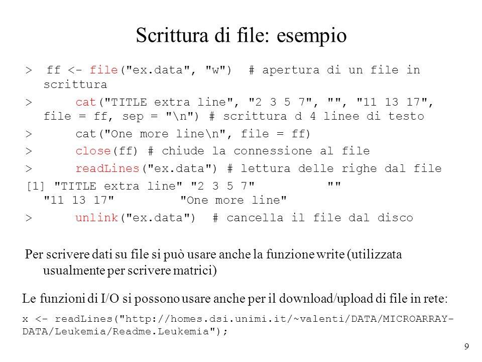 10 Lettura di file: esempio > ff <- file ( ex.data , r ) # apertura file in lettura > readLines(ff) # lettura di tutto il file [1] TITLE extra line 2 3 5 7 11 13 17 One more line > seek (ff,0) # rewind del file [1] 54 > readLines (ff,n=1) # lettura d una riga alla volta [1] TITLE extra line > readLines(ff,n=1) [1] 2 3 5 7 > readLines(ff,n=1) [1] > readLines(ff,n=1) [1] 11 13 17 > readLines(ff,n=1) [1] One more line > readLines(ff,n=1) # esaurite le righe del file character(0) > close (ff) # chiusura file