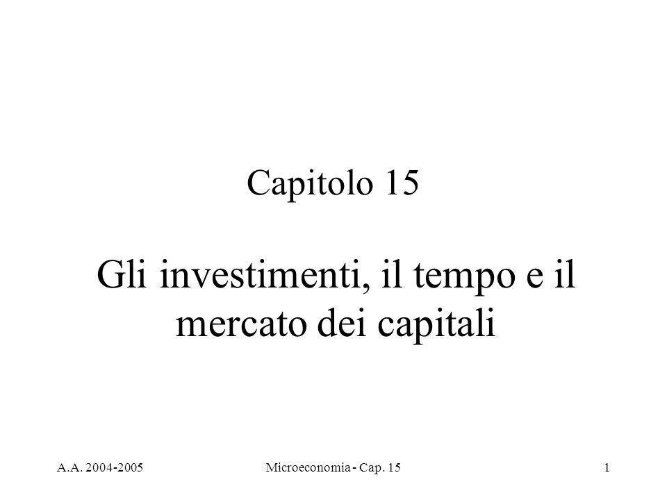 A.A. 2004-2005Microeconomia - Cap. 151 Capitolo 15 Gli investimenti, il tempo e il mercato dei capitali