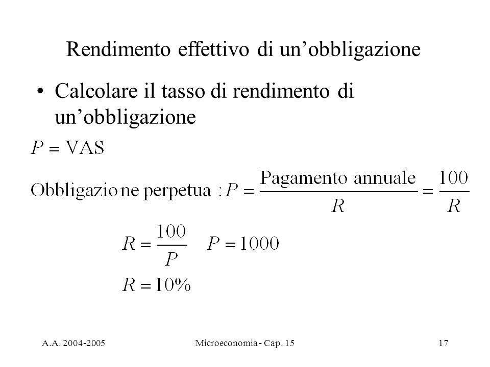 A.A. 2004-2005Microeconomia - Cap. 1517 Rendimento effettivo di unobbligazione Calcolare il tasso di rendimento di unobbligazione
