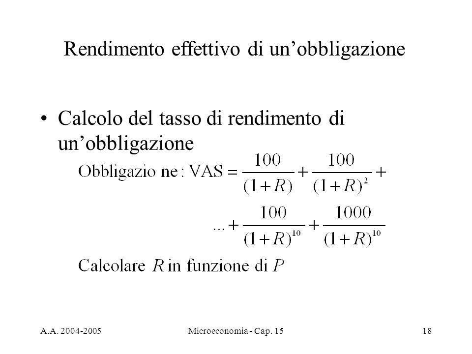 A.A. 2004-2005Microeconomia - Cap. 1518 Rendimento effettivo di unobbligazione Calcolo del tasso di rendimento di unobbligazione