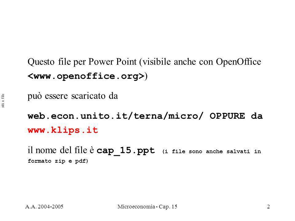 A.A.2004-2005Microeconomia - Cap. 153 Argomenti Stock e flussi (par.