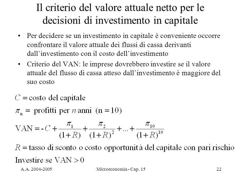 A.A. 2004-2005Microeconomia - Cap. 1522 Il criterio del valore attuale netto per le decisioni di investimento in capitale Per decidere se un investime