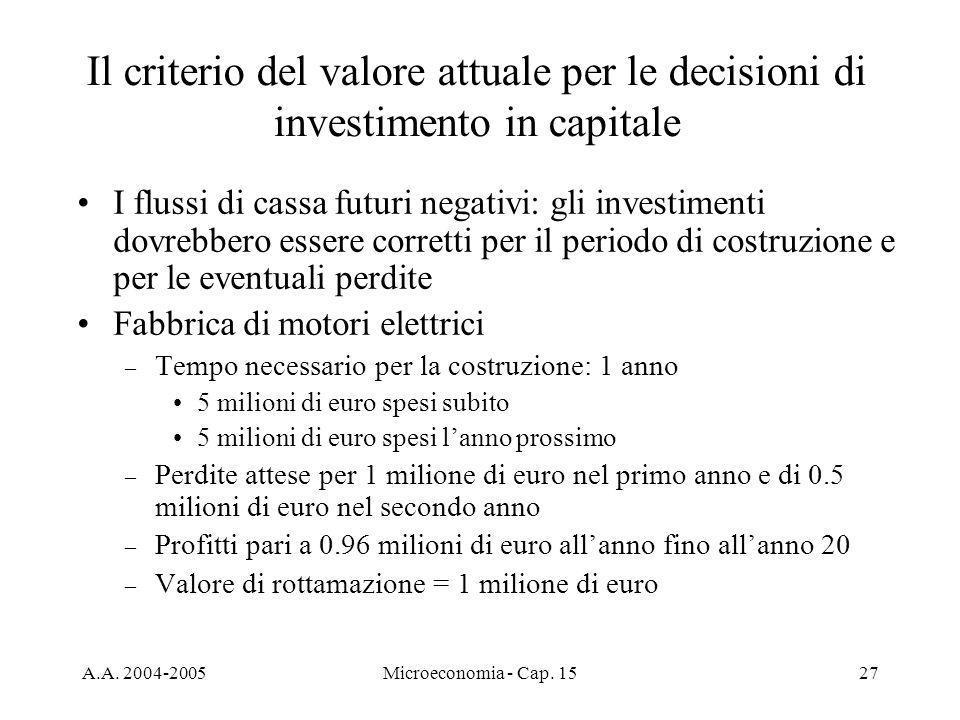 A.A. 2004-2005Microeconomia - Cap. 1527 I flussi di cassa futuri negativi: gli investimenti dovrebbero essere corretti per il periodo di costruzione e
