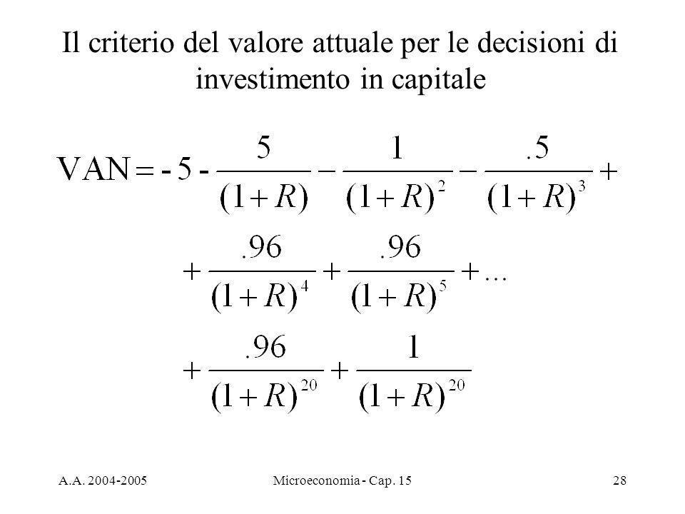 A.A. 2004-2005Microeconomia - Cap. 1528 Il criterio del valore attuale per le decisioni di investimento in capitale