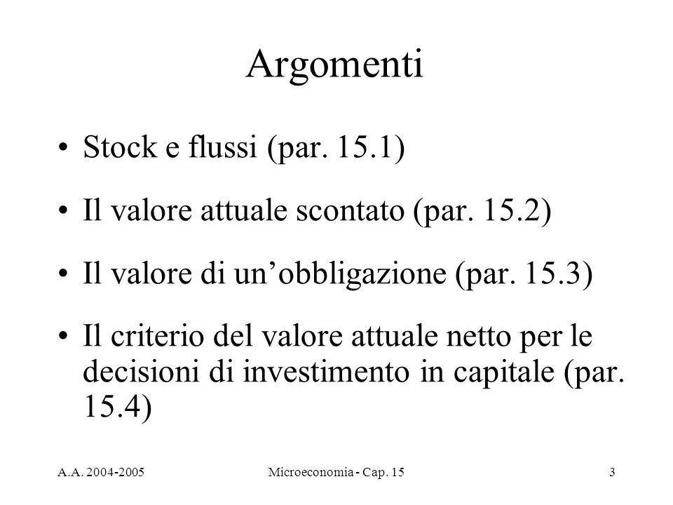 A.A. 2004-2005Microeconomia - Cap. 153 Argomenti Stock e flussi (par. 15.1) Il valore attuale scontato (par. 15.2) Il valore di unobbligazione (par. 1