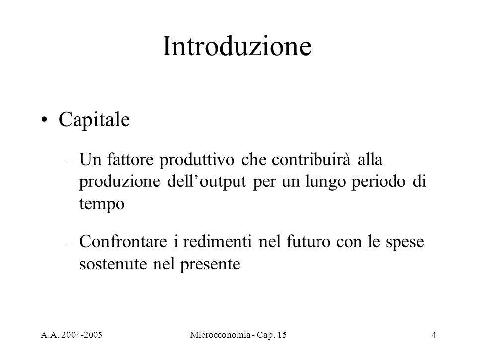 A.A. 2004-2005Microeconomia - Cap. 154 Introduzione Capitale – Un fattore produttivo che contribuirà alla produzione delloutput per un lungo periodo d
