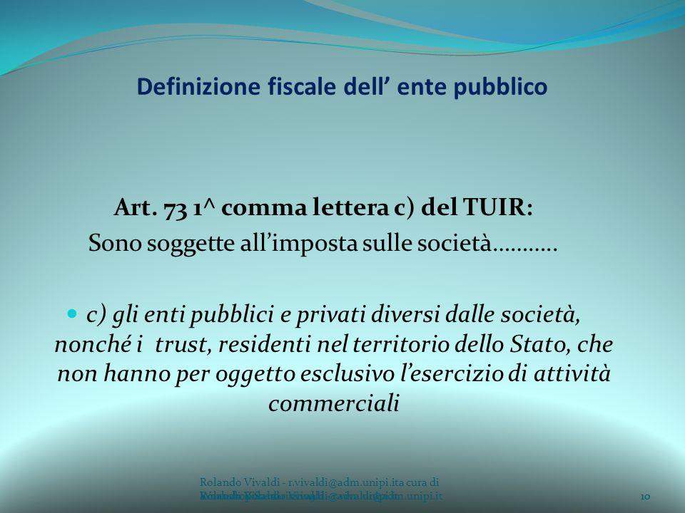 Rolando Vivaldi - r.vivaldi@adm.unipi.ita cura di Rolando Vivaldi - r.vivaldi@adm.unipi.it10a cura di Rolando Vivaldi - r.vivaldi@adm.unipi.it Definizione fiscale dell ente pubblico Art.