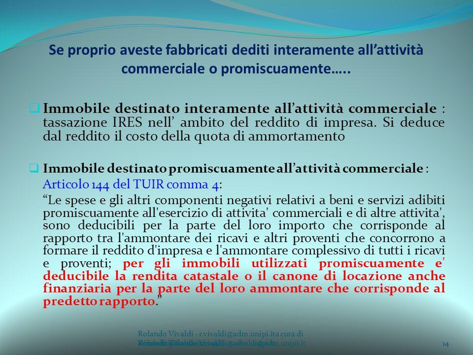 Rolando Vivaldi - r.vivaldi@adm.unipi.ita cura di Rolando Vivaldi - r.vivaldi@adm.unipi.it14a cura di Rolando Vivaldi - r.vivaldi@adm.unipi.it Se proprio aveste fabbricati dediti interamente allattività commerciale o promiscuamente…..