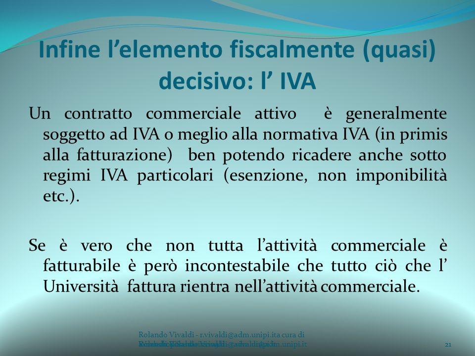 Rolando Vivaldi - r.vivaldi@adm.unipi.ita cura di Rolando Vivaldi - r.vivaldi@adm.unipi.it21a cura di Rolando Vivaldi - r.vivaldi@adm.unipi.it Infine lelemento fiscalmente (quasi) decisivo: l IVA Un contratto commerciale attivo è generalmente soggetto ad IVA o meglio alla normativa IVA (in primis alla fatturazione) ben potendo ricadere anche sotto regimi IVA particolari (esenzione, non imponibilità etc.).