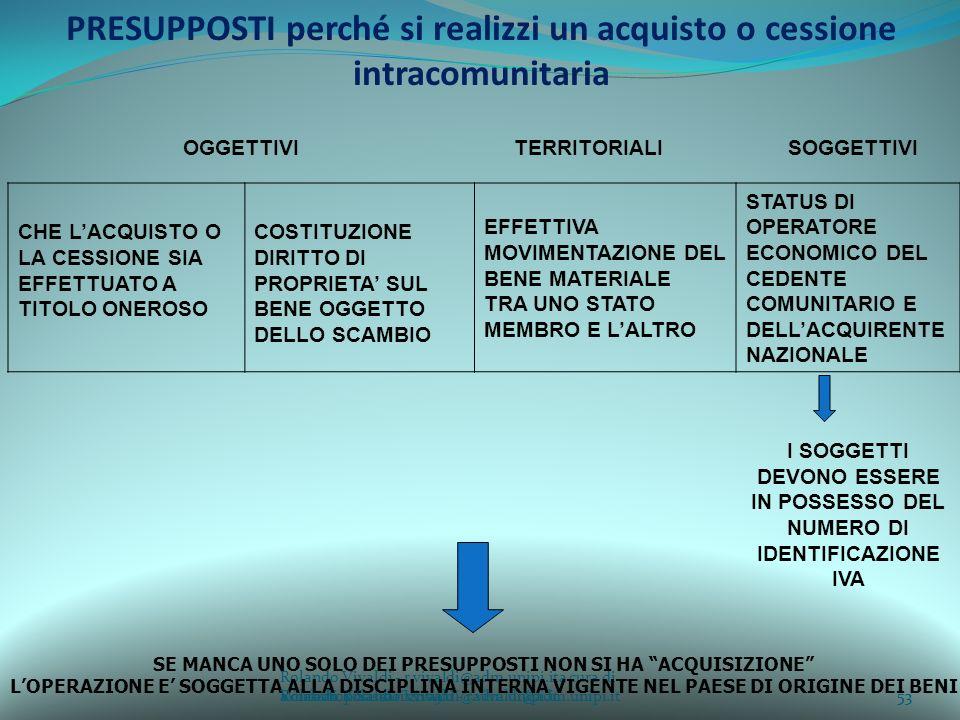Rolando Vivaldi - r.vivaldi@adm.unipi.ita cura di Rolando Vivaldi - r.vivaldi@adm.unipi.it53a cura di Rolando Vivaldi - r.vivaldi@adm.unipi.it PRESUPPOSTI perché si realizzi un acquisto o cessione intracomunitaria OGGETTIVI TERRITORIALI SOGGETTIVI CHE LACQUISTO O LA CESSIONE SIA EFFETTUATO A TITOLO ONEROSO COSTITUZIONE DIRITTO DI PROPRIETA SUL BENE OGGETTO DELLO SCAMBIO EFFETTIVA MOVIMENTAZIONE DEL BENE MATERIALE TRA UNO STATO MEMBRO E LALTRO STATUS DI OPERATORE ECONOMICO DEL CEDENTE COMUNITARIO E DELLACQUIRENTE NAZIONALE I SOGGETTI DEVONO ESSERE IN POSSESSO DEL NUMERO DI IDENTIFICAZIONE IVA SE MANCA UNO SOLO DEI PRESUPPOSTI NON SI HA ACQUISIZIONE LOPERAZIONE E SOGGETTA ALLA DISCIPLINA INTERNA VIGENTE NEL PAESE DI ORIGINE DEI BENI 53Workshop Sassari 2009