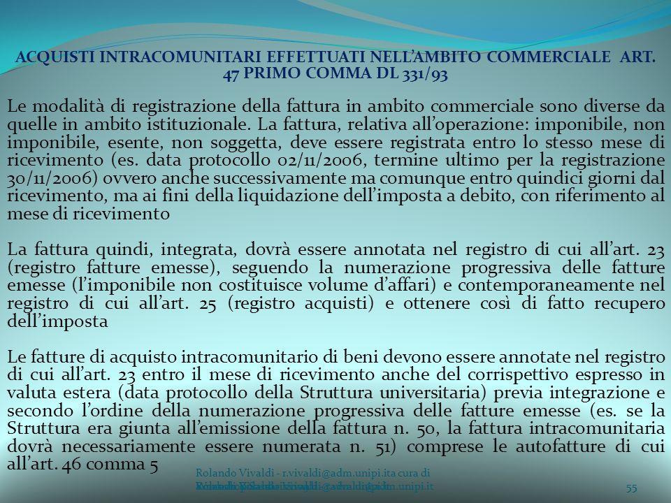 Rolando Vivaldi - r.vivaldi@adm.unipi.ita cura di Rolando Vivaldi - r.vivaldi@adm.unipi.it55a cura di Rolando Vivaldi - r.vivaldi@adm.unipi.it ACQUISTI INTRACOMUNITARI EFFETTUATI NELLAMBITO COMMERCIALE ART.