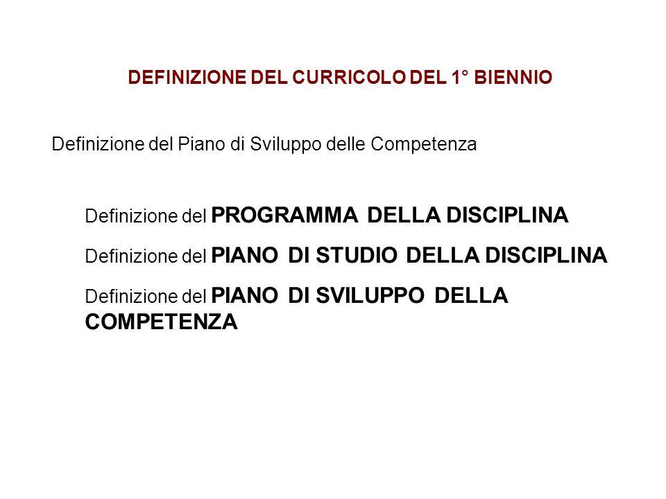 DEFINIZIONE DEL CURRICOLO DEL 1° BIENNIO Definizione del Piano di Sviluppo delle Competenza Definizione del PROGRAMMA DELLA DISCIPLINA Definizione del PIANO DI STUDIO DELLA DISCIPLINA Definizione del PIANO DI SVILUPPO DELLA COMPETENZA