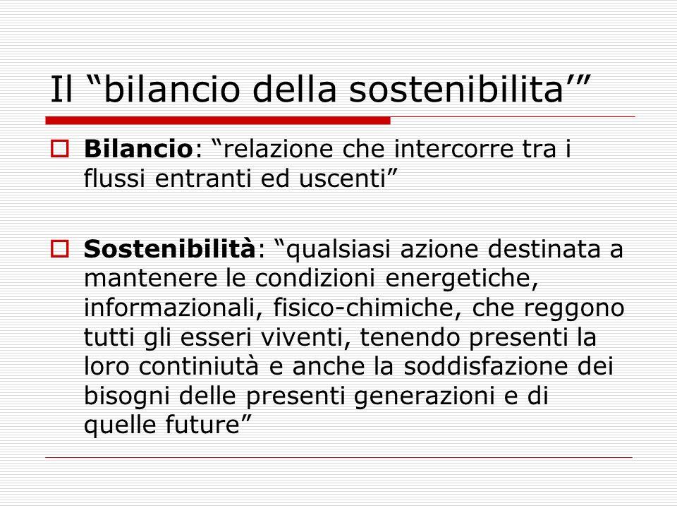 Il bilancio della sostenibilita Bilancio: relazione che intercorre tra i flussi entranti ed uscenti Sostenibilità: qualsiasi azione destinata a manten