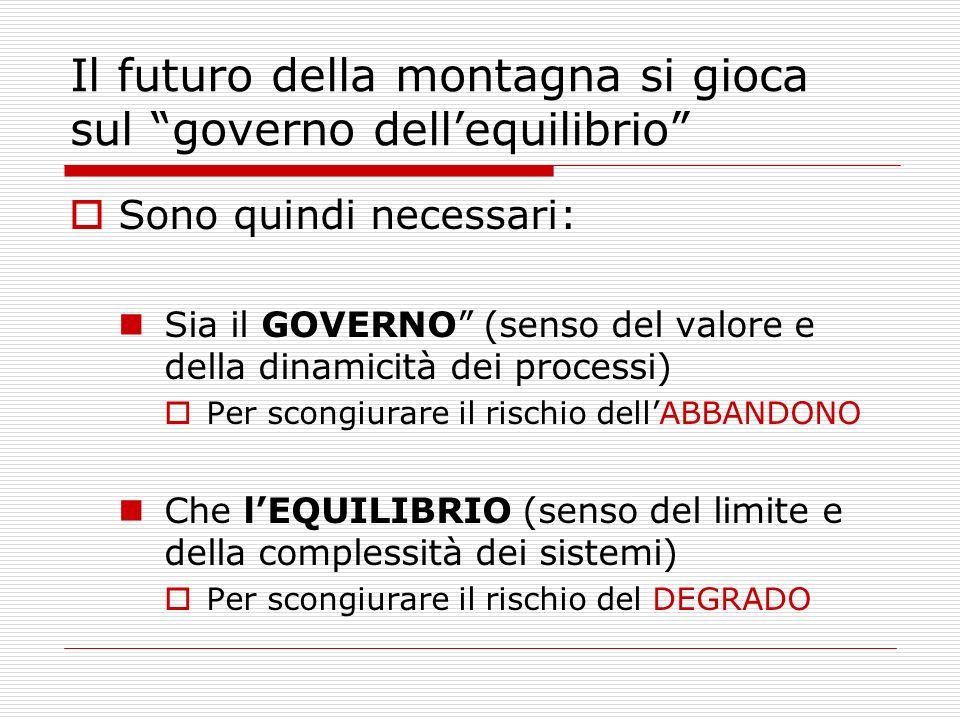 Il futuro della montagna si gioca sul governo dellequilibrio Sono quindi necessari: Sia il GOVERNO (senso del valore e della dinamicità dei processi)
