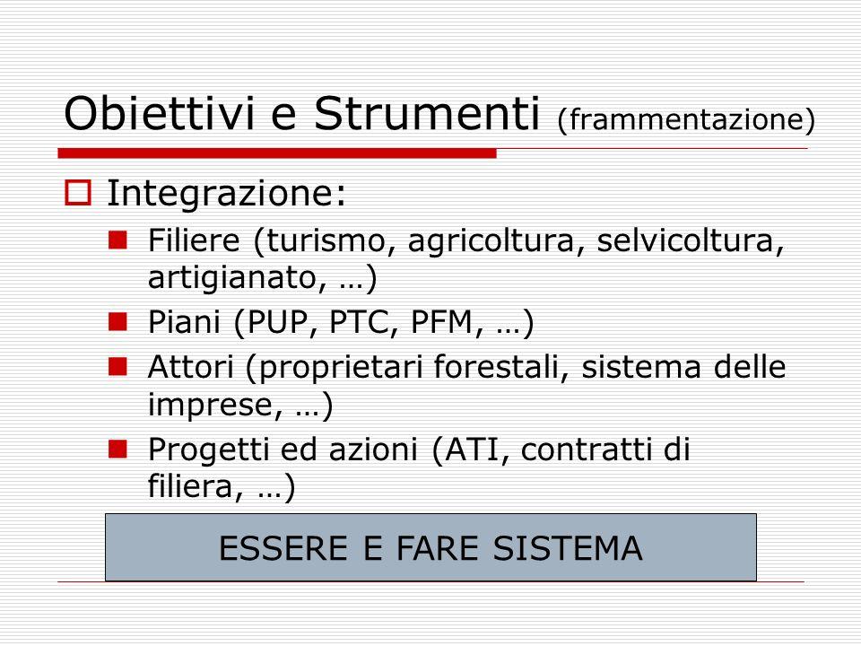 Obiettivi e Strumenti (frammentazione) Integrazione: Filiere (turismo, agricoltura, selvicoltura, artigianato, …) Piani (PUP, PTC, PFM, …) Attori (pro