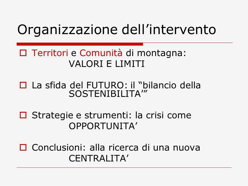 Organizzazione dellintervento Territori e Comunità di montagna: VALORI E LIMITI La sfida del FUTURO: il bilancio della SOSTENIBILITA Strategie e strum