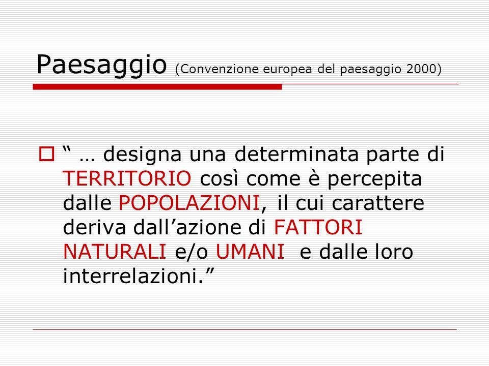 Paesaggio (Convenzione europea del paesaggio 2000) … designa una determinata parte di TERRITORIO così come è percepita dalle POPOLAZIONI, il cui carat
