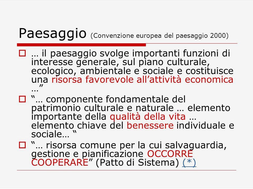 Paesaggio (Convenzione europea del paesaggio 2000) … il paesaggio svolge importanti funzioni di interesse generale, sul piano culturale, ecologico, am