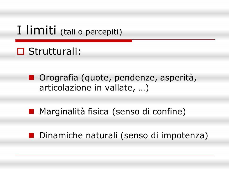 I limiti (tali o percepiti) Strutturali: Orografia (quote, pendenze, asperità, articolazione in vallate, …) Marginalità fisica (senso di confine) Dina