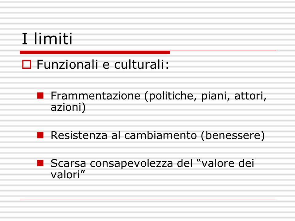 I limiti Funzionali e culturali: Frammentazione (politiche, piani, attori, azioni) Resistenza al cambiamento (benessere) Scarsa consapevolezza del val