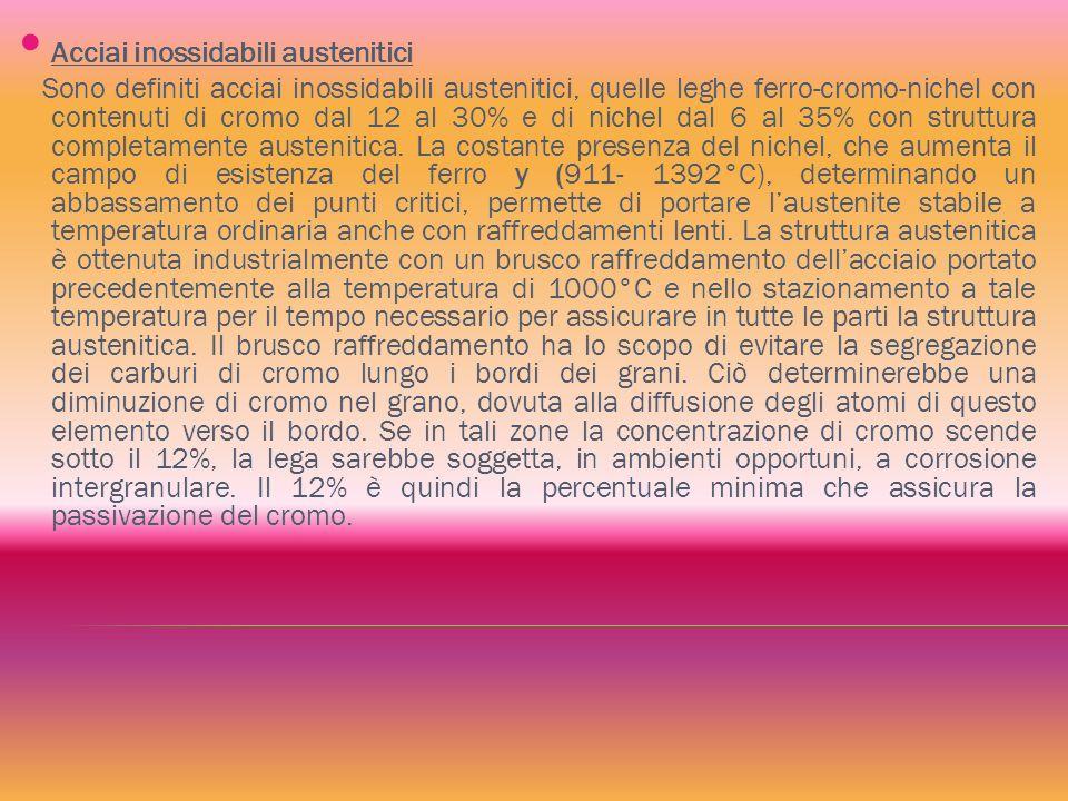 Acciai inossidabili austenitici Sono definiti acciai inossidabili austenitici, quelle leghe ferro-cromo-nichel con contenuti di cromo dal 12 al 30% e