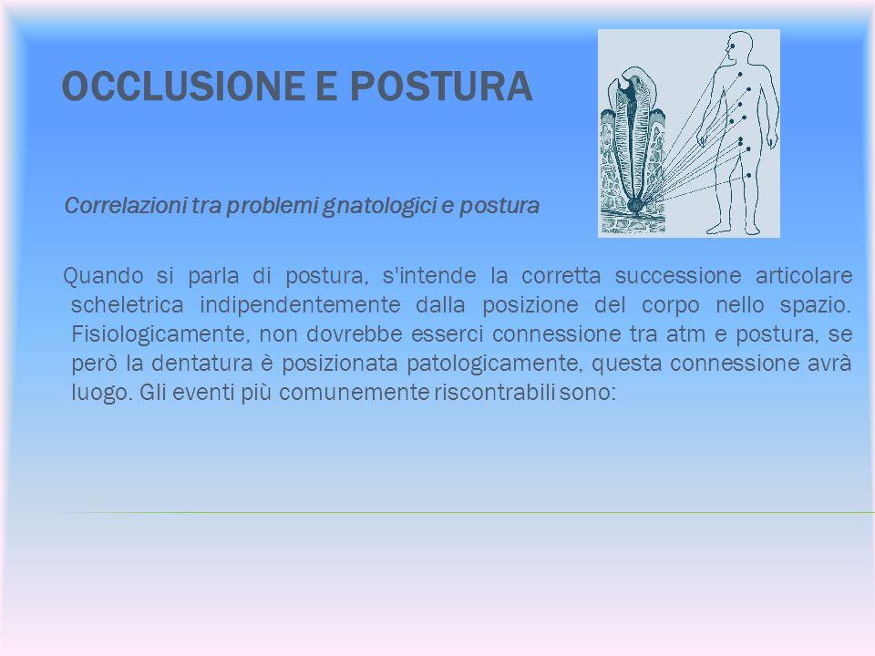 OCCLUSIONE E POSTURA Correlazioni tra problemi gnatologici e postura Quando si parla di postura, s'intende la corretta successione articolare scheletr