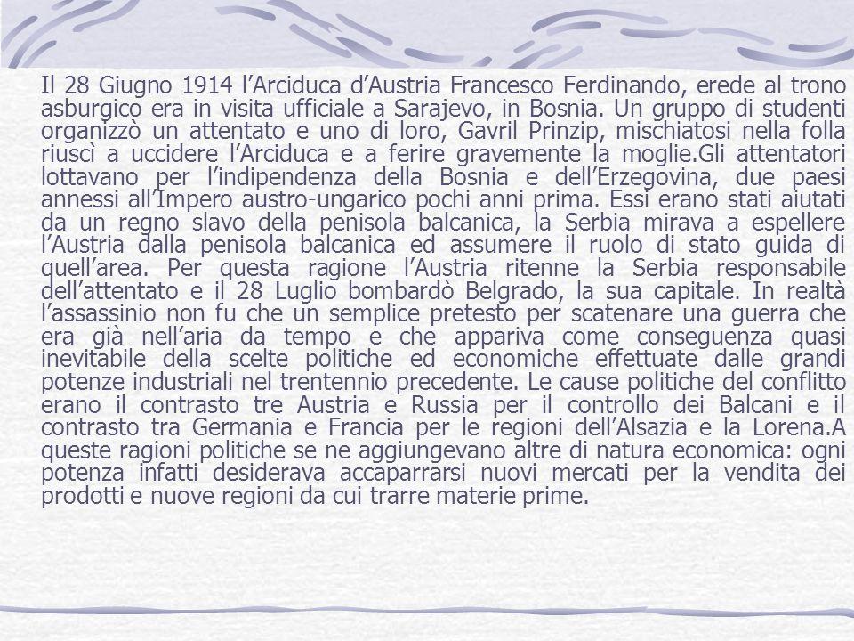 Il 28 Giugno 1914 lArciduca dAustria Francesco Ferdinando, erede al trono asburgico era in visita ufficiale a Sarajevo, in Bosnia. Un gruppo di studen
