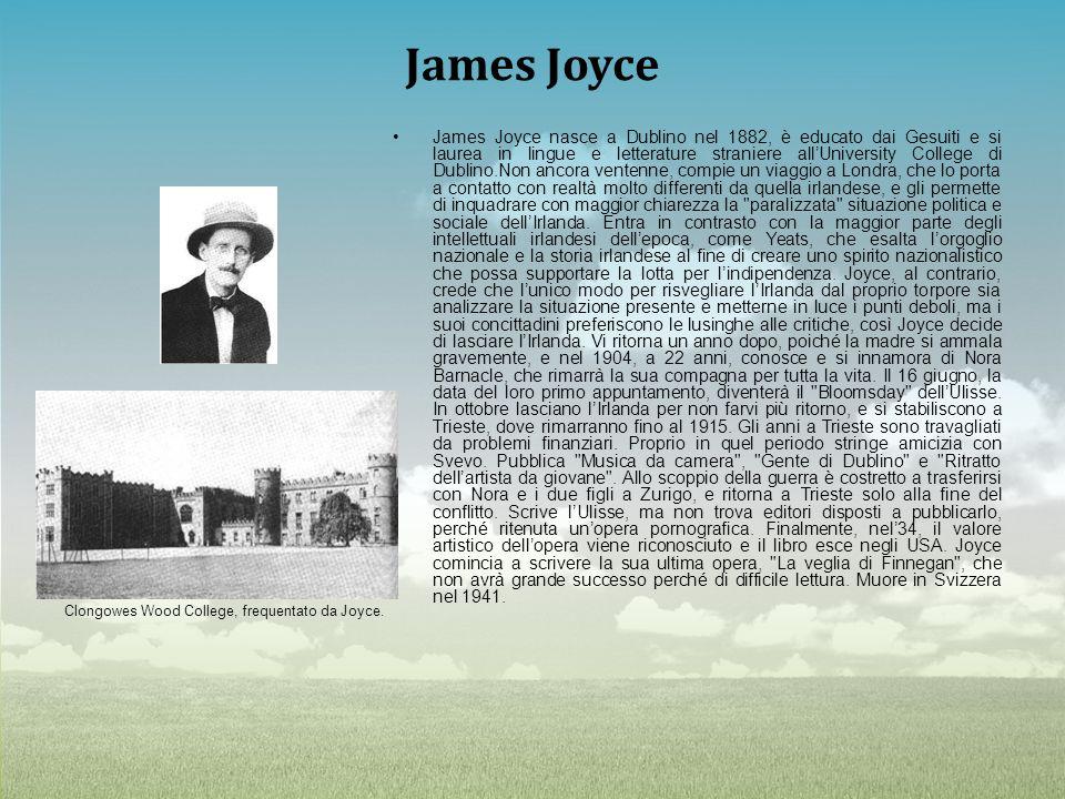 James Joyce Clongowes Wood College, frequentato da Joyce. James Joyce nasce a Dublino nel 1882, è educato dai Gesuiti e si laurea in lingue e letterat