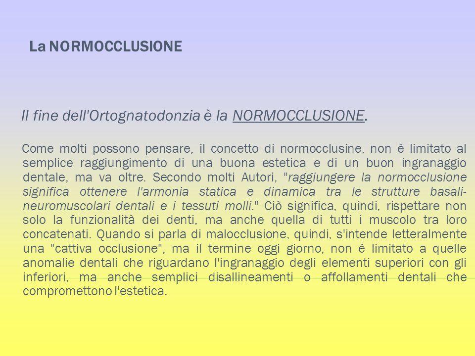 La NORMOCCLUSIONE Il fine dell'Ortognatodonzia è la NORMOCCLUSIONE. Come molti possono pensare, il concetto di normocclusine, non è limitato al sempli