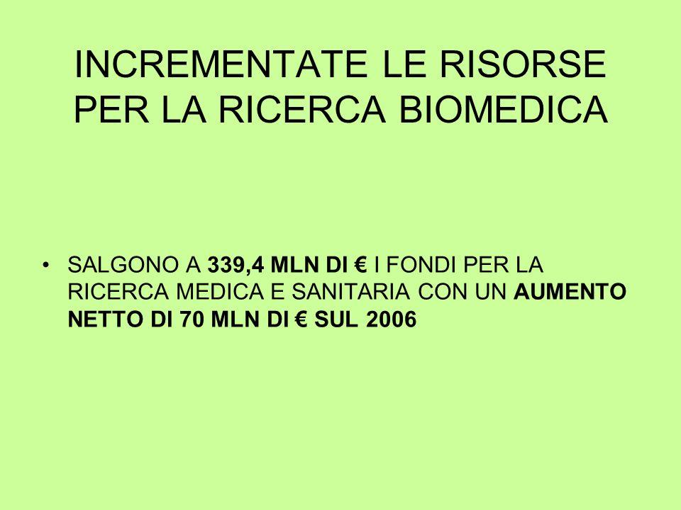 INCREMENTATE LE RISORSE PER LA RICERCA BIOMEDICA SALGONO A 339,4 MLN DI I FONDI PER LA RICERCA MEDICA E SANITARIA CON UN AUMENTO NETTO DI 70 MLN DI SUL 2006